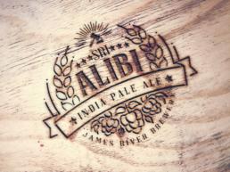 Alibi IPA wood logo mockup