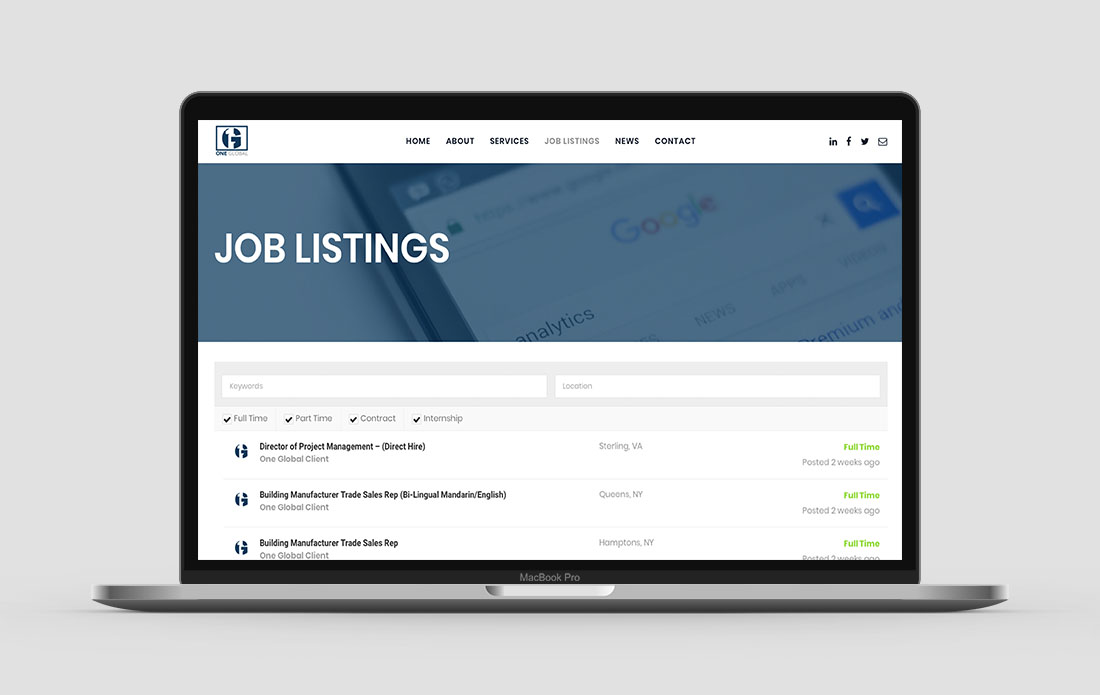 One Global Consulting Website Job Listings Page