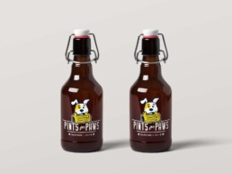 pints for paws logo beer bottle