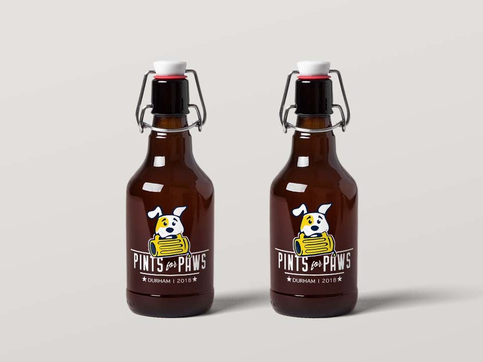pints for paws logo beer bottle