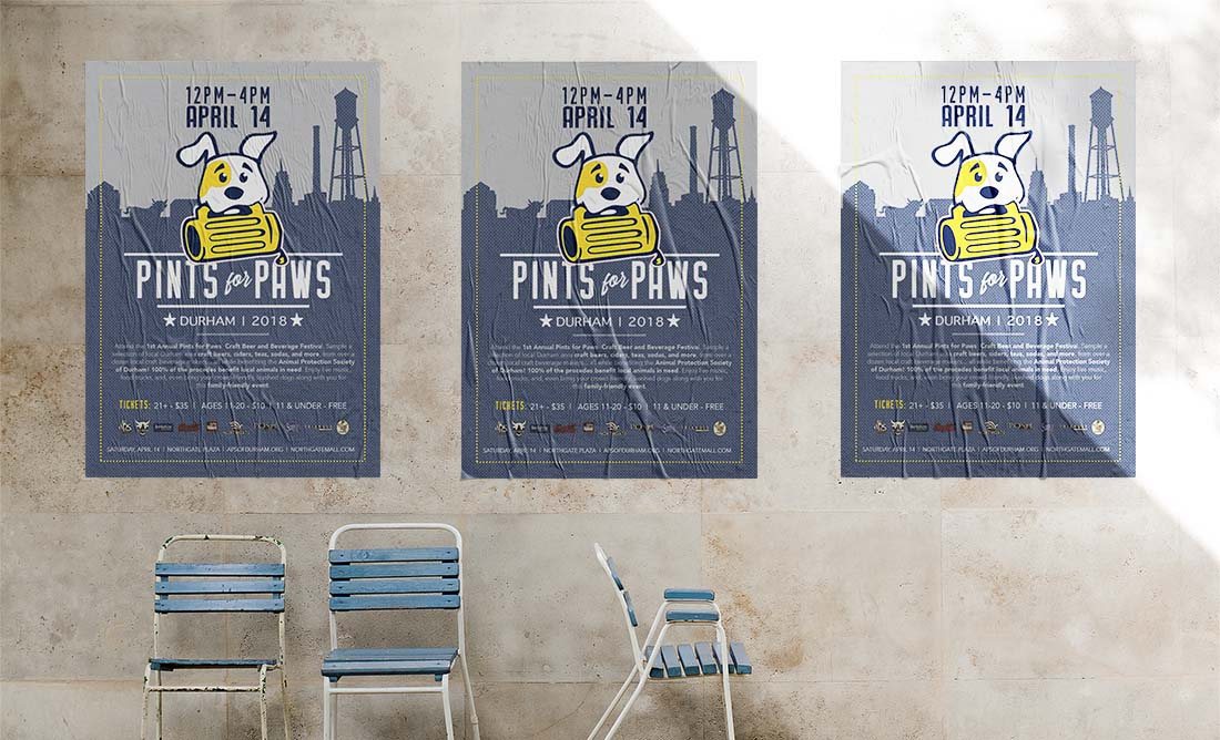 logo & poster design pints for paws